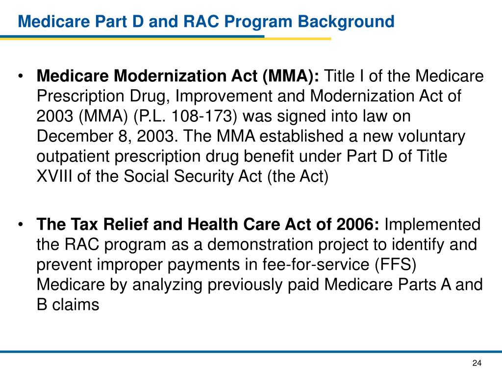 Medicare Part D and RAC Program Background