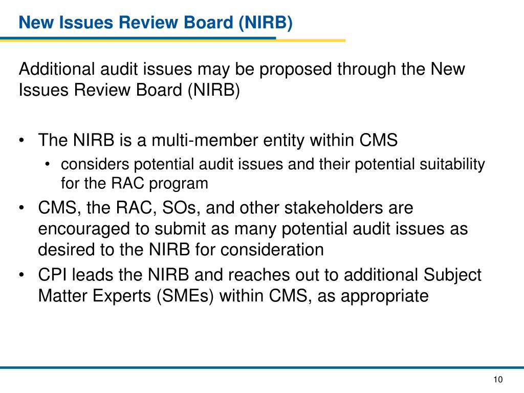 New Issues Review Board (NIRB)