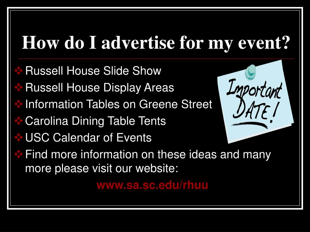 How do I advertise for my event?