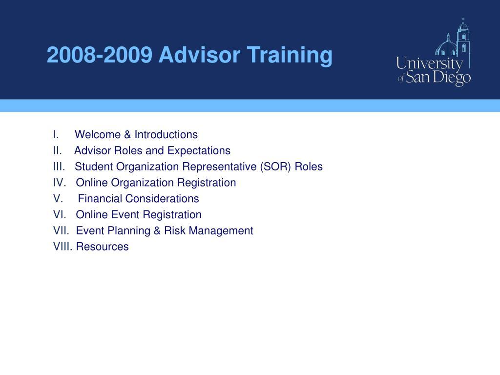 2008-2009 Advisor Training
