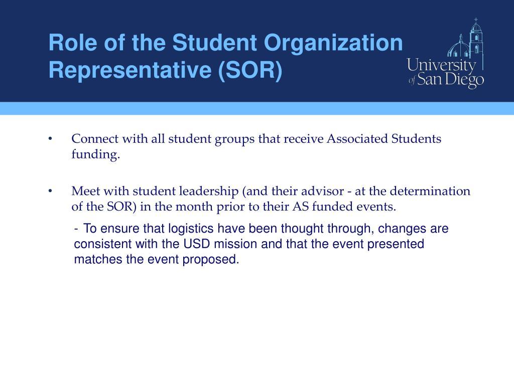 Role of the Student Organization Representative (SOR)