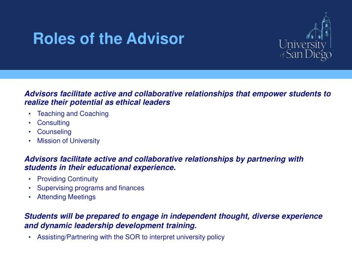 Roles of the advisor