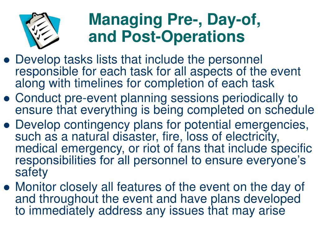 Managing Pre-, Day-of, and Post-Operations
