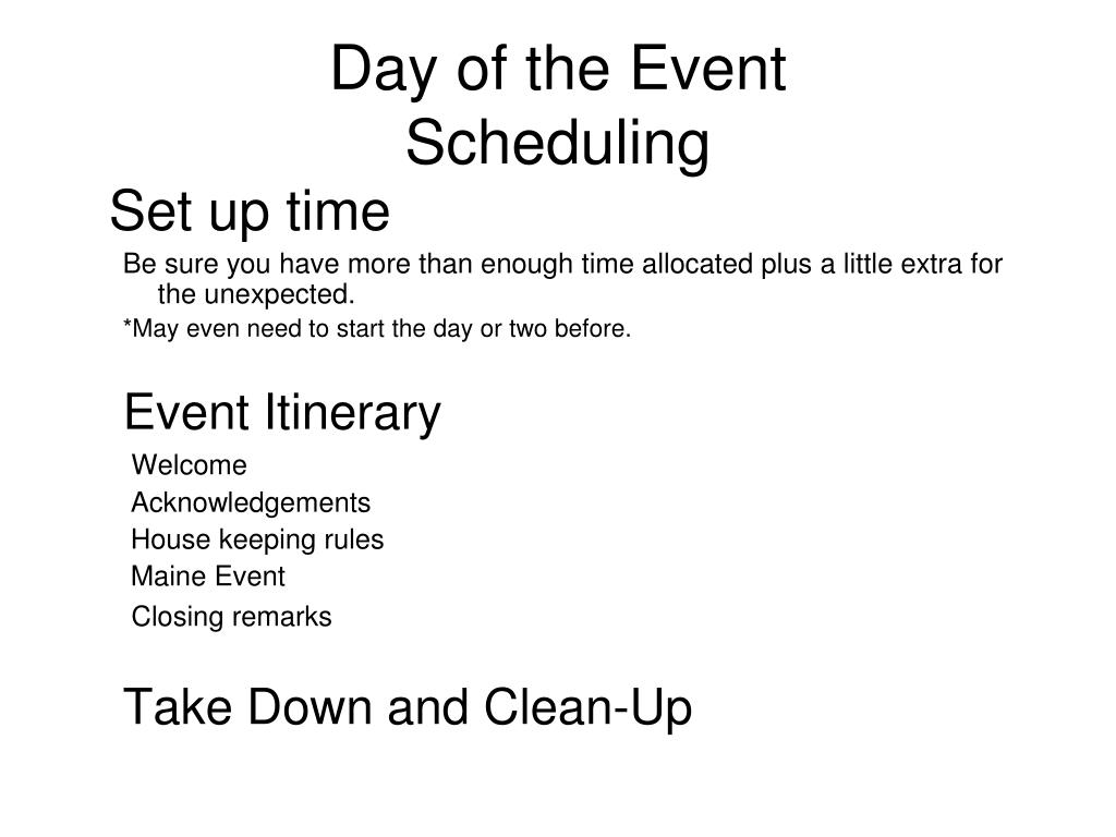 Day of the Event