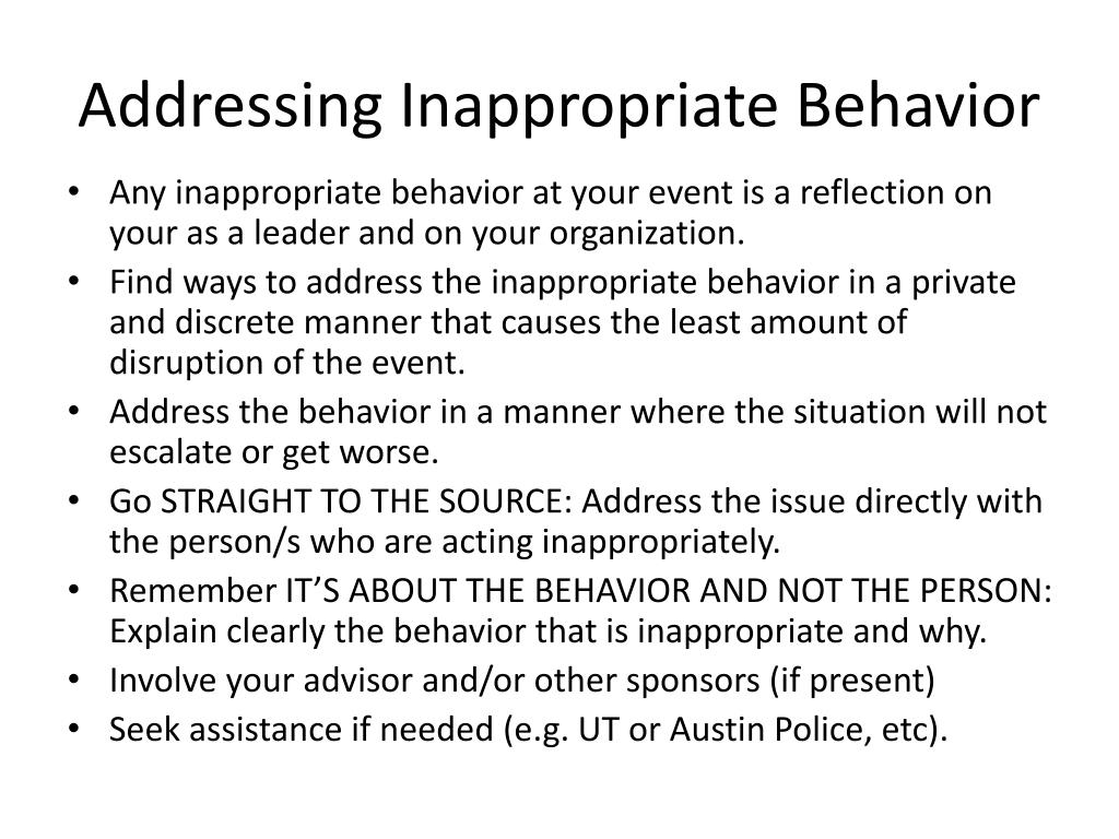 Addressing Inappropriate Behavior