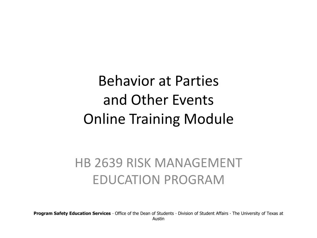 behavior at parties and other events online training module