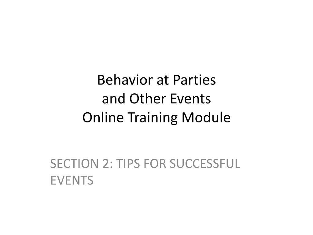 Behavior at Parties