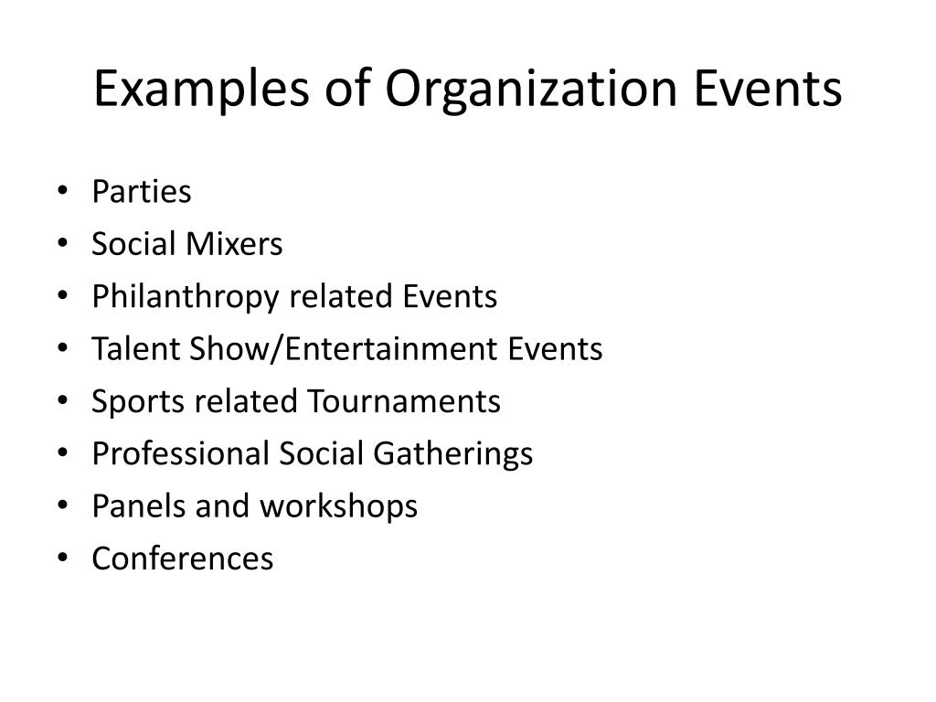 Examples of Organization Events