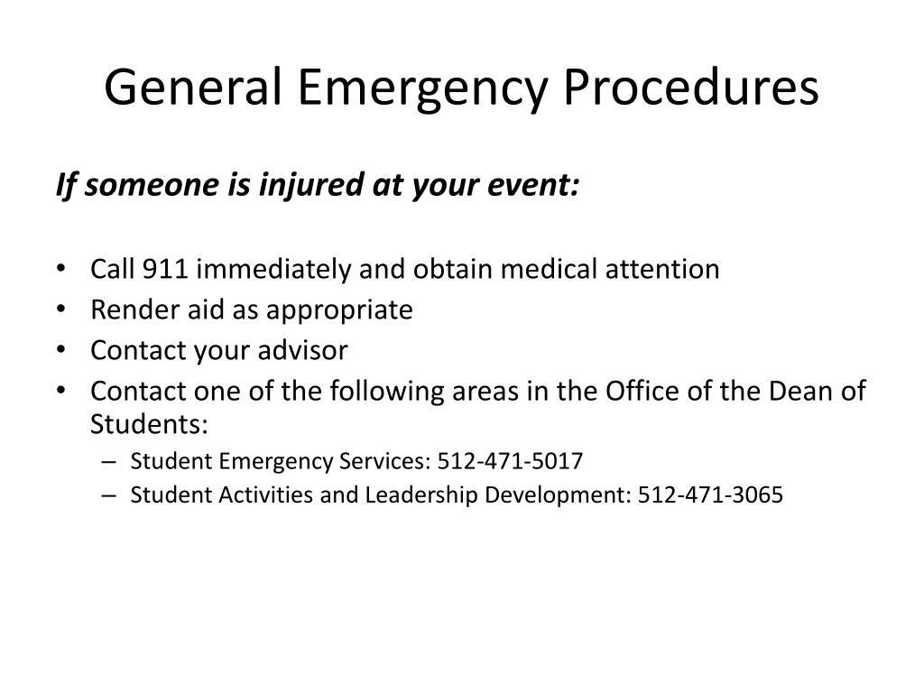 General Emergency Procedures