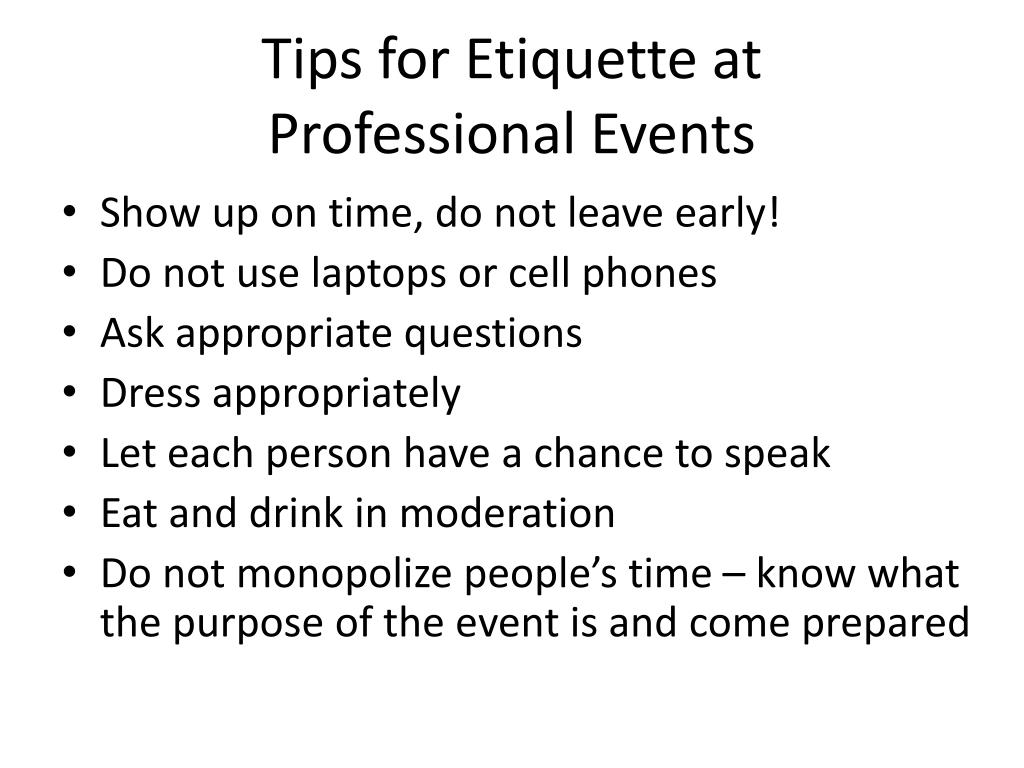 Tips for Etiquette at