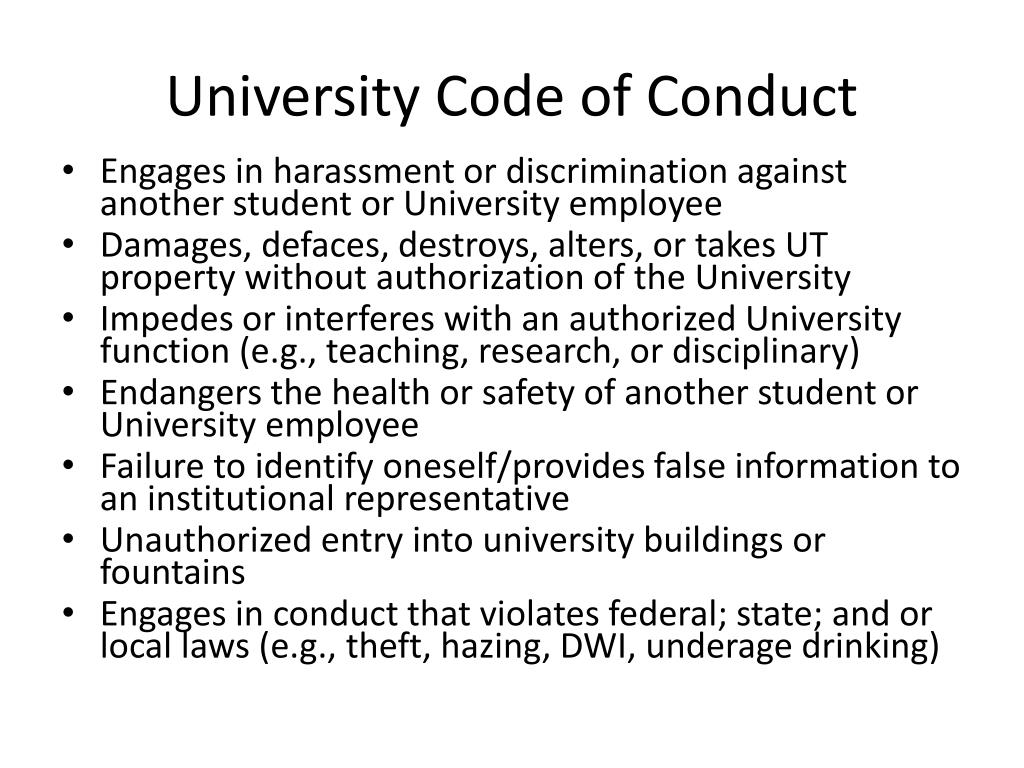 University Code of Conduct