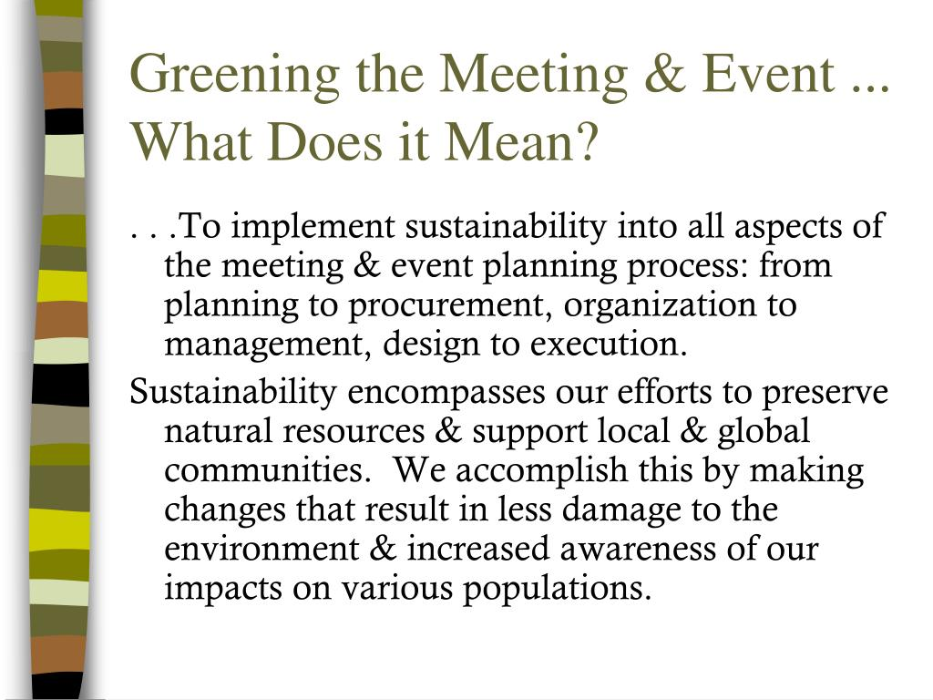Greening the Meeting & Event ...