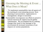 greening the meeting event what does it mean