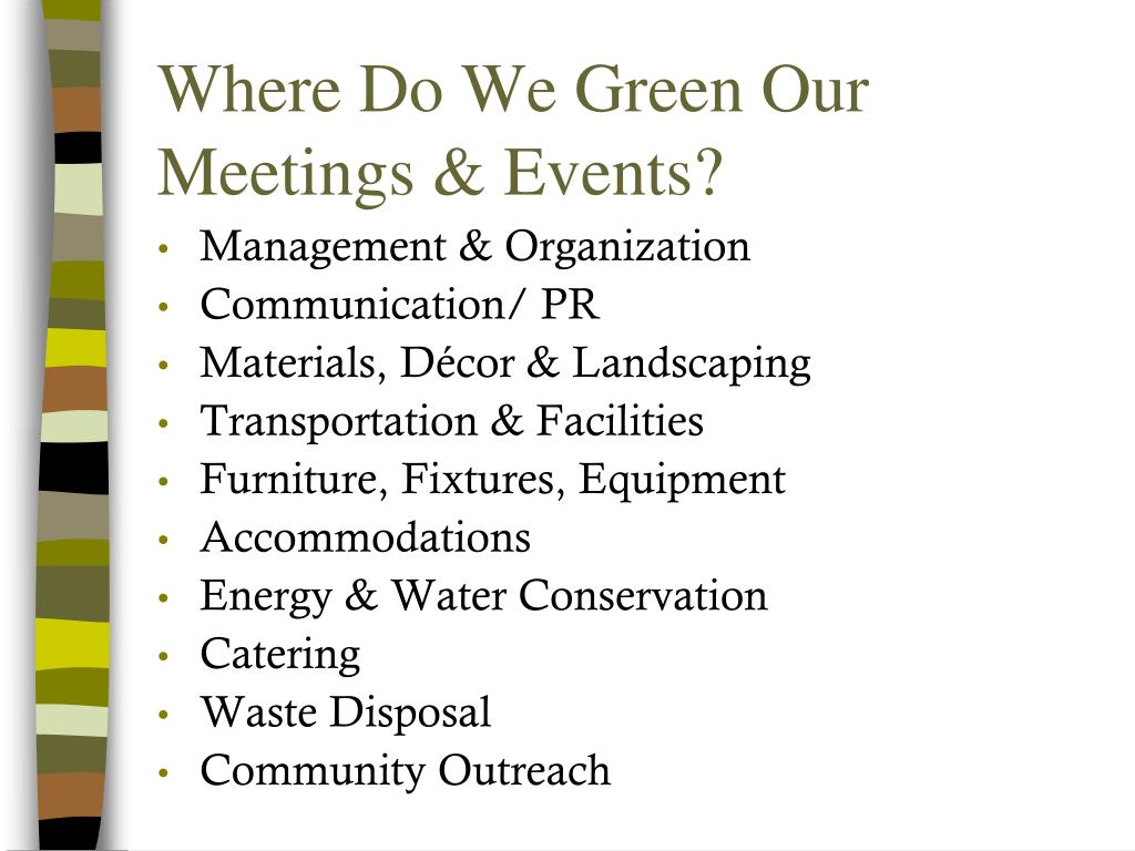 Where Do We Green Our Meetings & Events?
