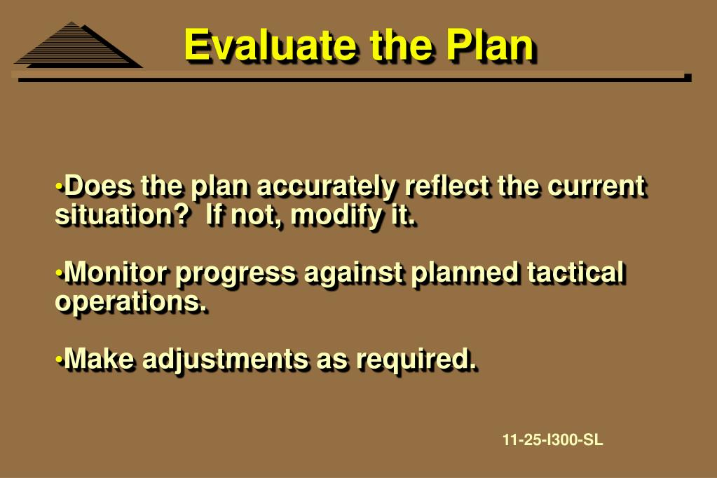 Evaluate the Plan