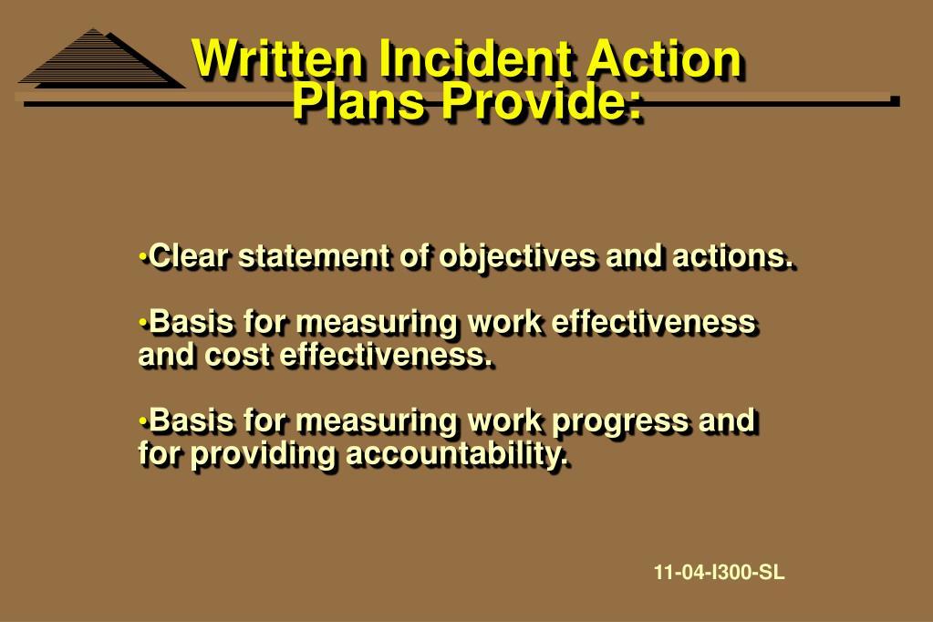 Written Incident Action