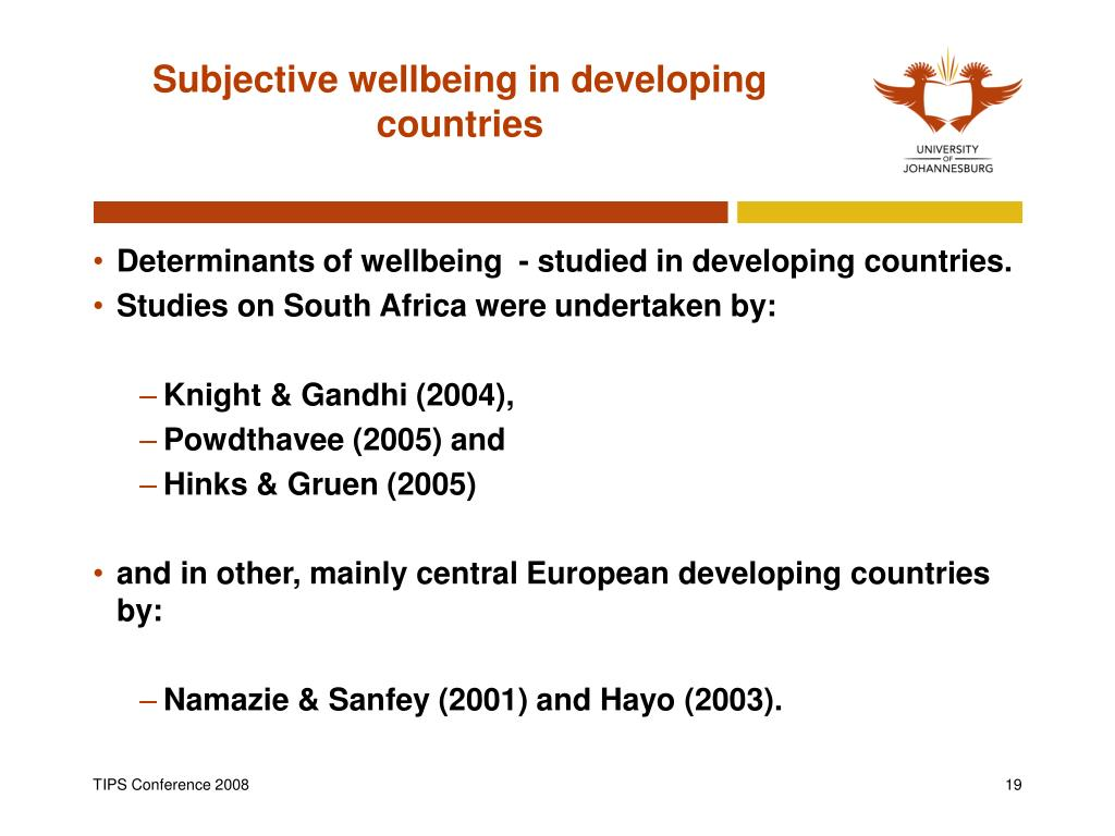Subjective wellbeing in developing countries