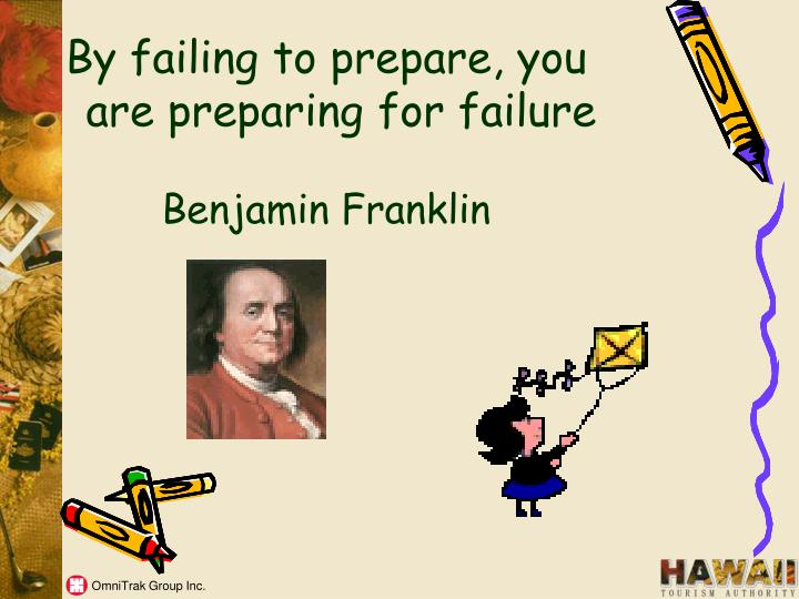 By failing to prepare, you are preparing for failure