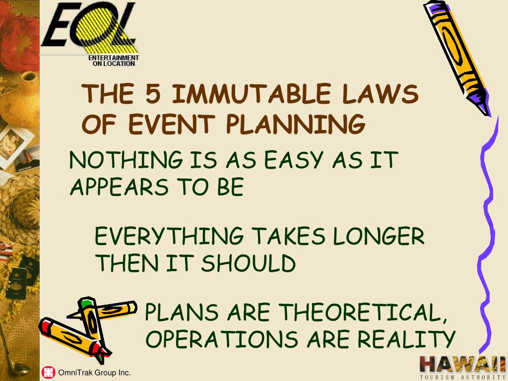 THE 5 IMMUTABLE LAWS OF EVENT PLANNING
