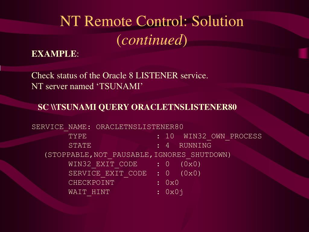 NT Remote Control: Solution