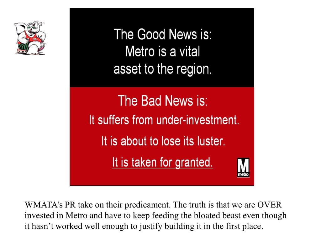 WMATA's PR take on their predicament. The truth is that we are OVER invested in Metro and have to keep feeding the bloated beast even though it hasn't worked well enough to justify building it in the first place.