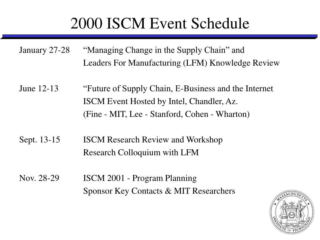 2000 ISCM Event Schedule
