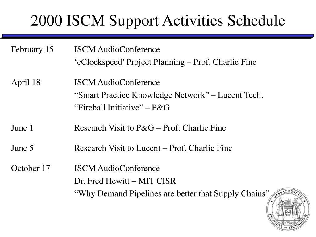 2000 ISCM Support Activities Schedule