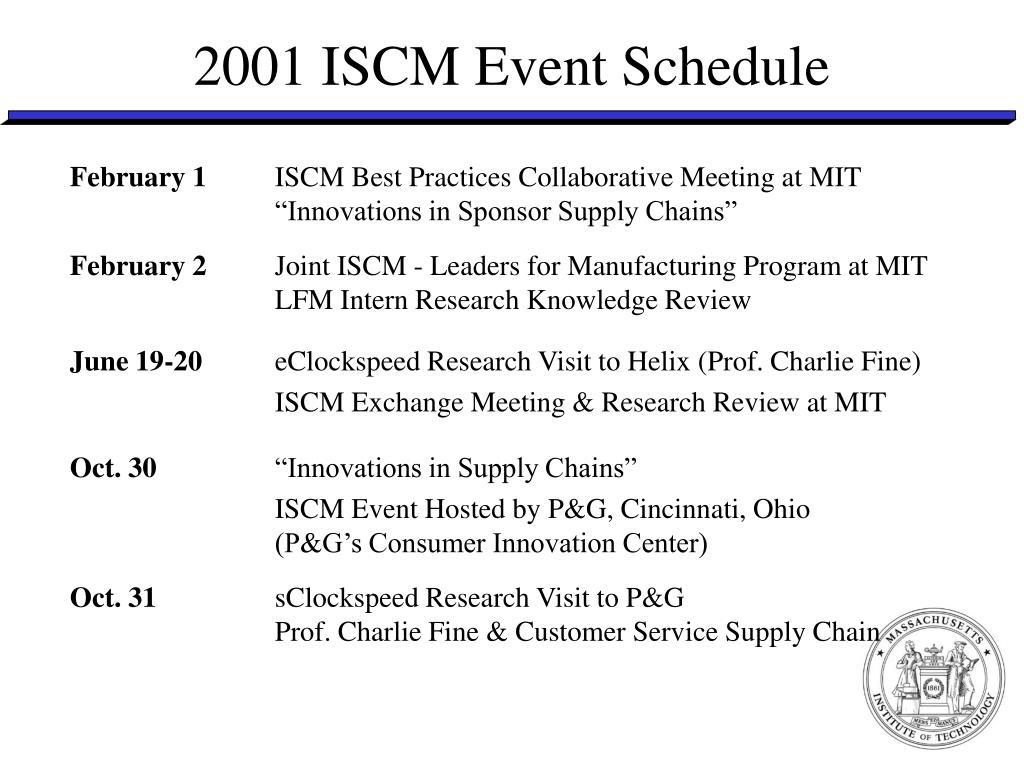 2001 ISCM Event Schedule