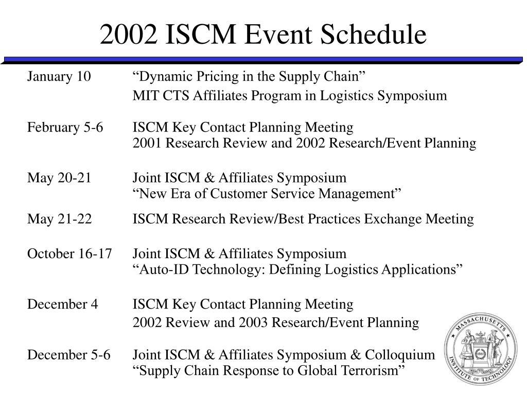 2002 ISCM Event Schedule