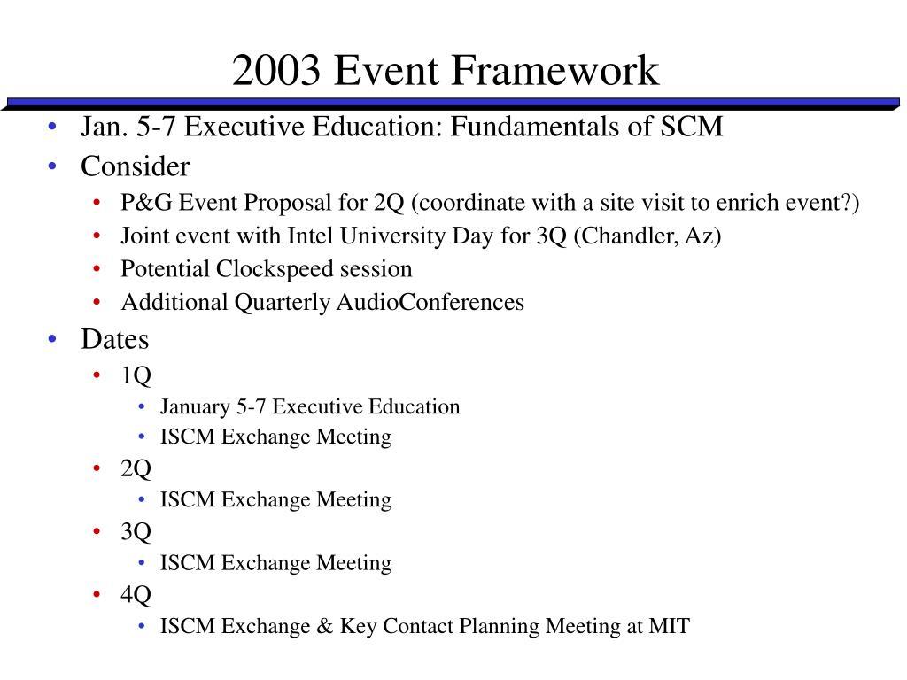 2003 Event Framework