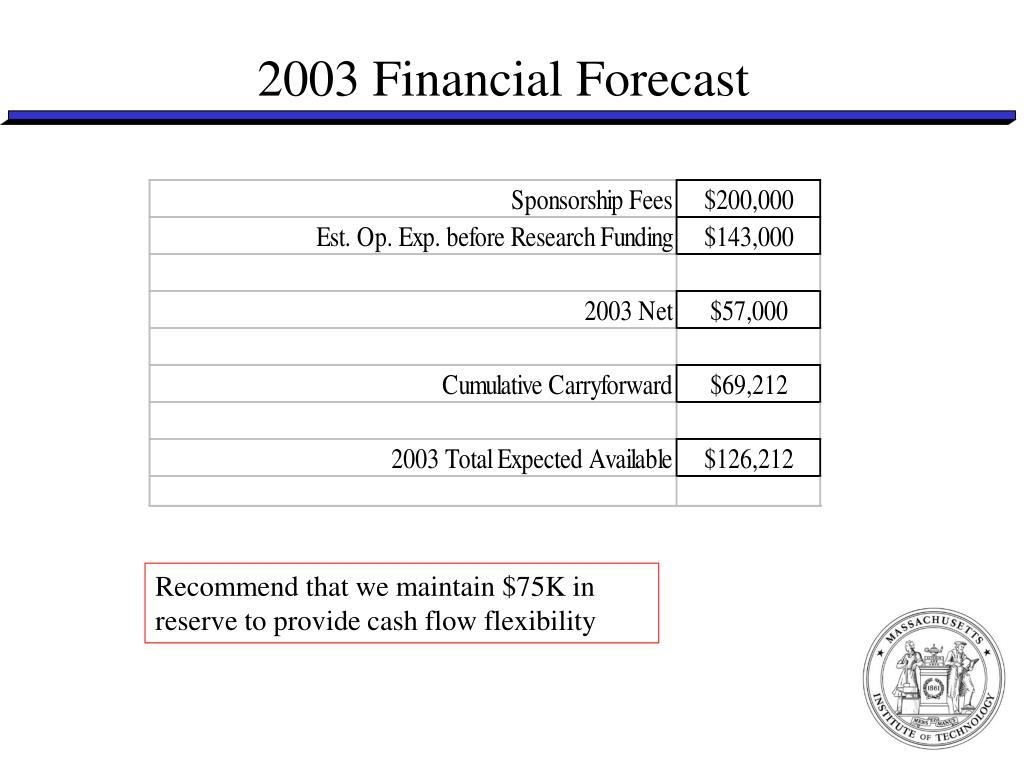 2003 Financial Forecast