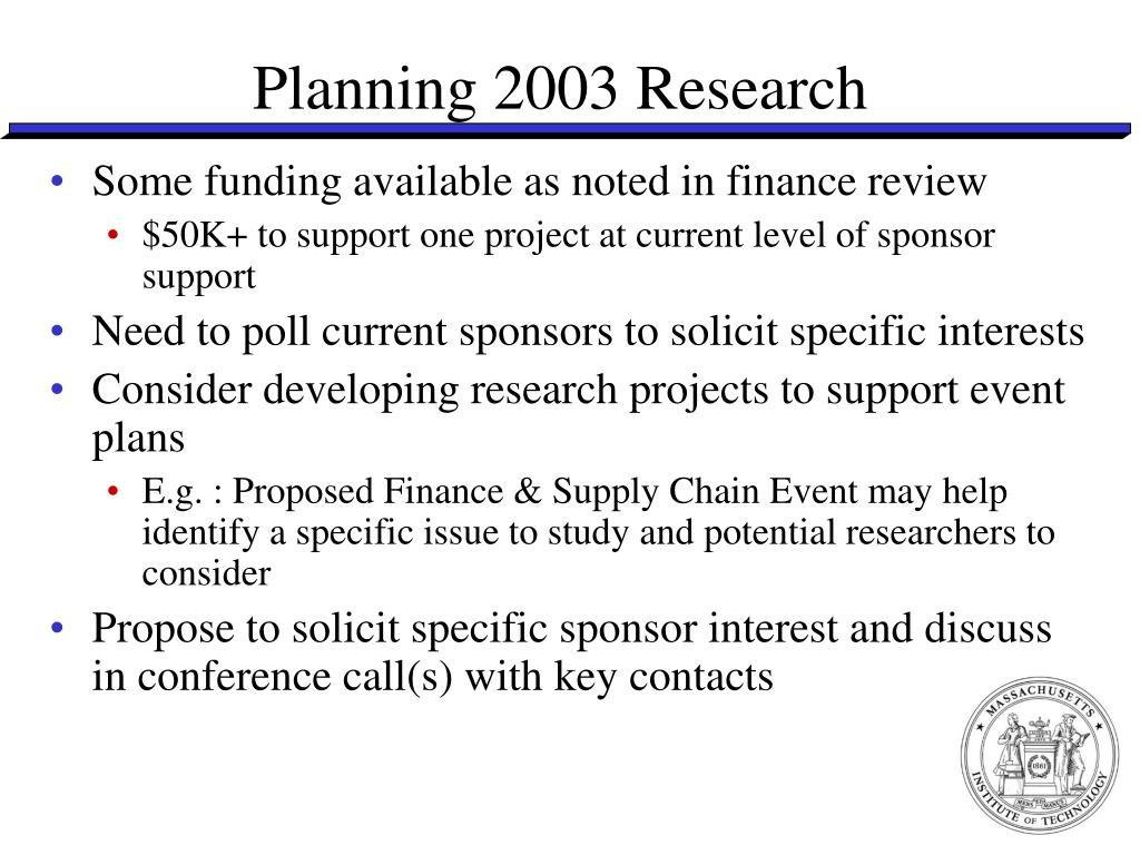 Planning 2003 Research