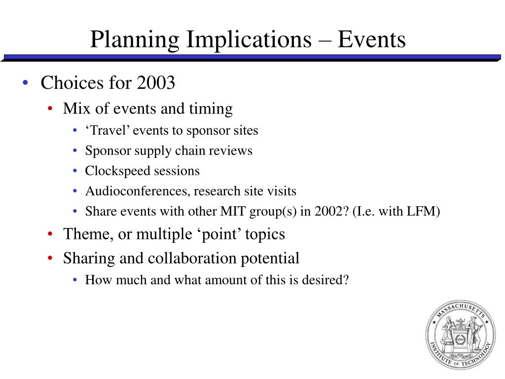 Planning Implications – Events