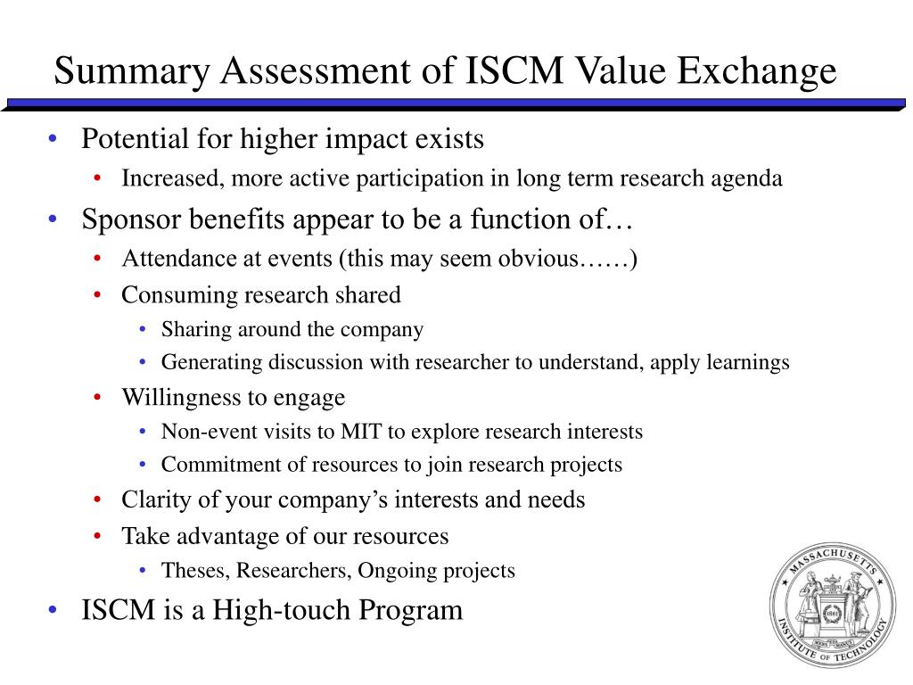Summary Assessment of ISCM Value Exchange