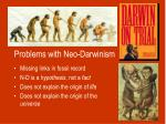 problems with neo darwinism