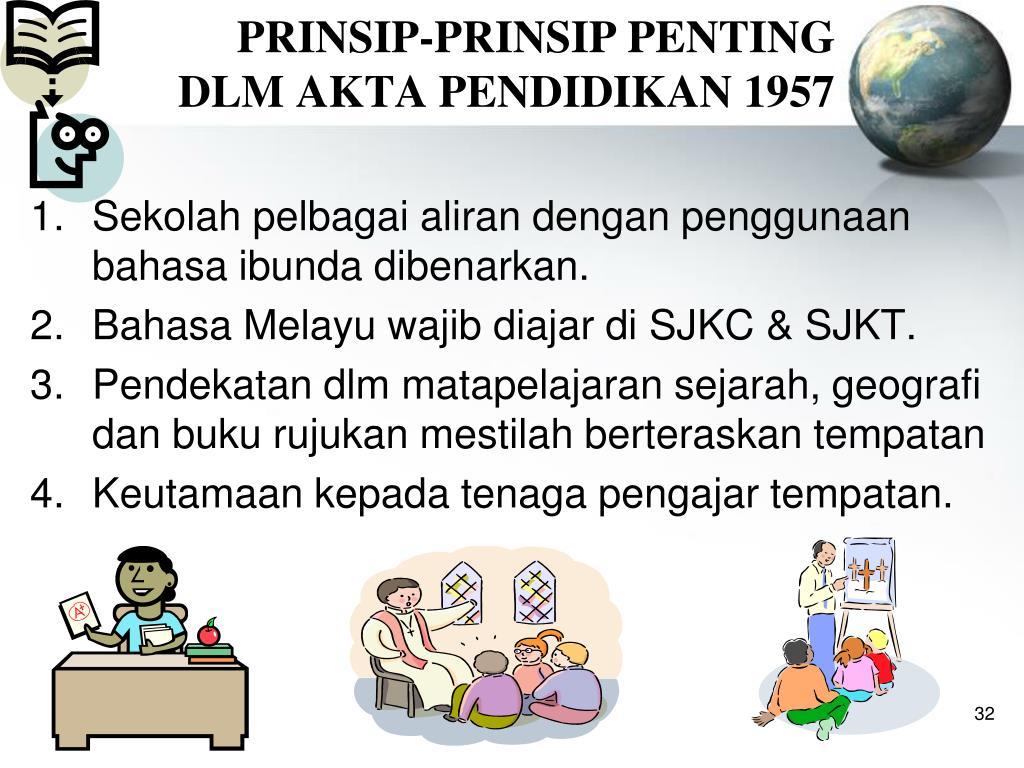 PRINSIP-PRINSIP PENTING        DLM AKTA PENDIDIKAN 1957