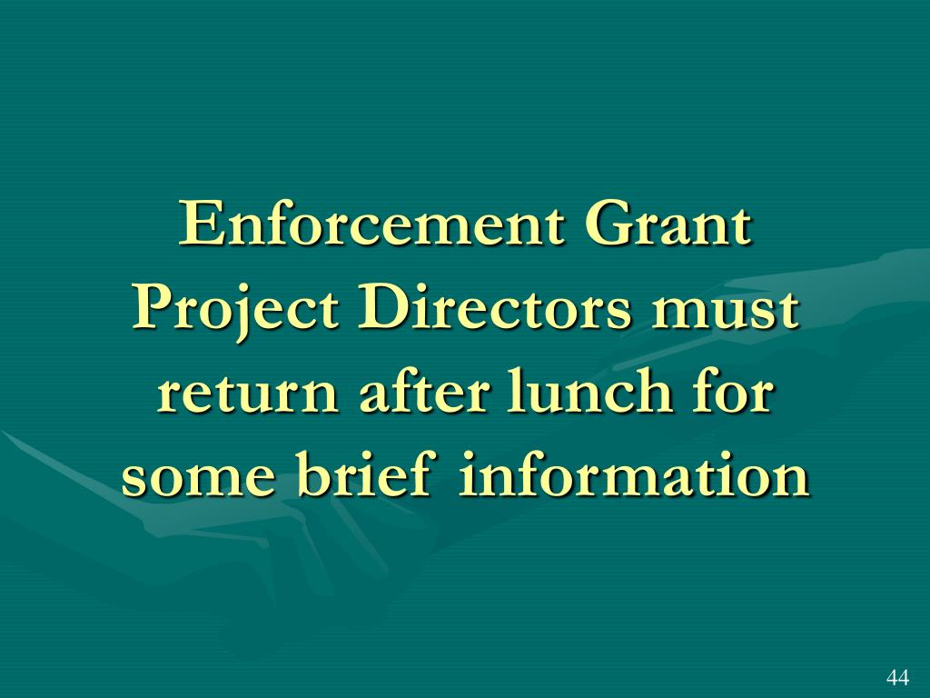 Enforcement Grant Project Directors must return after lunch for some brief information