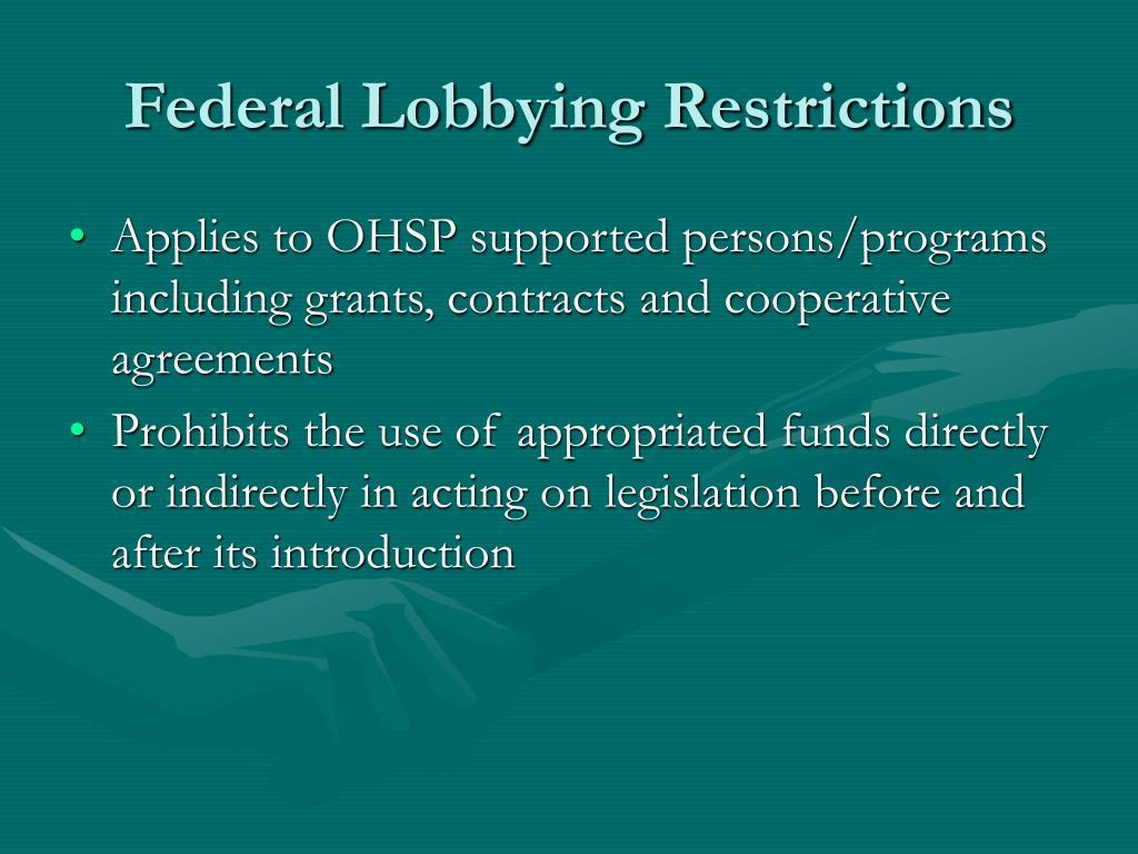 Federal Lobbying Restrictions