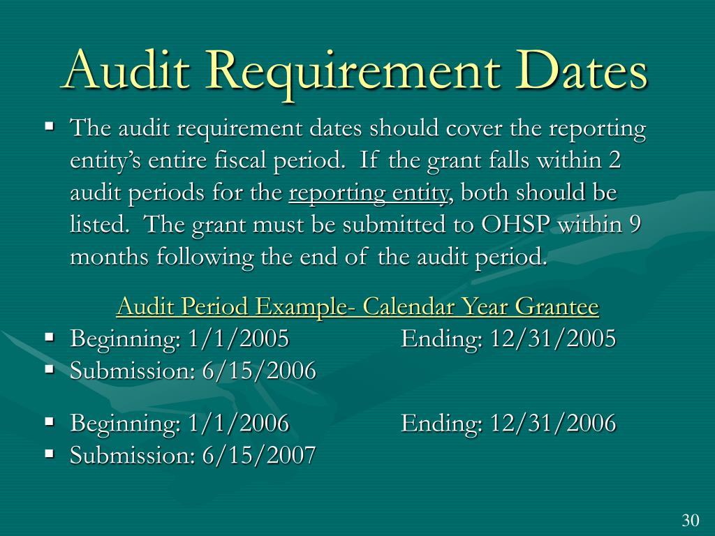 Audit Requirement Dates