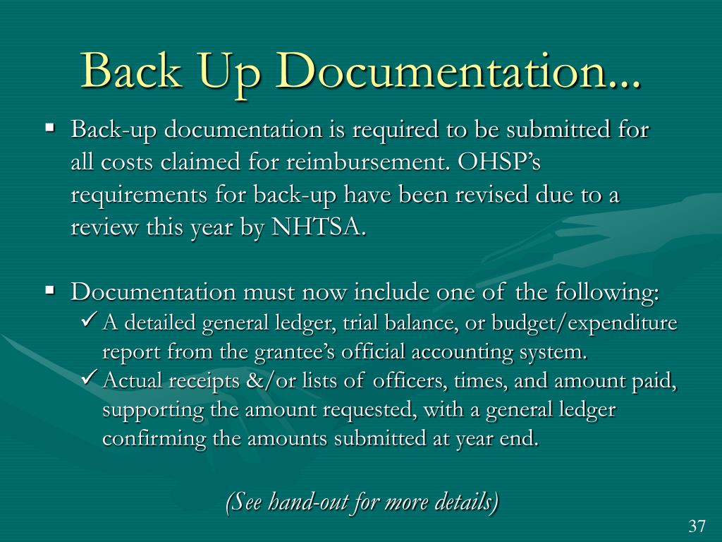 Back Up Documentation...