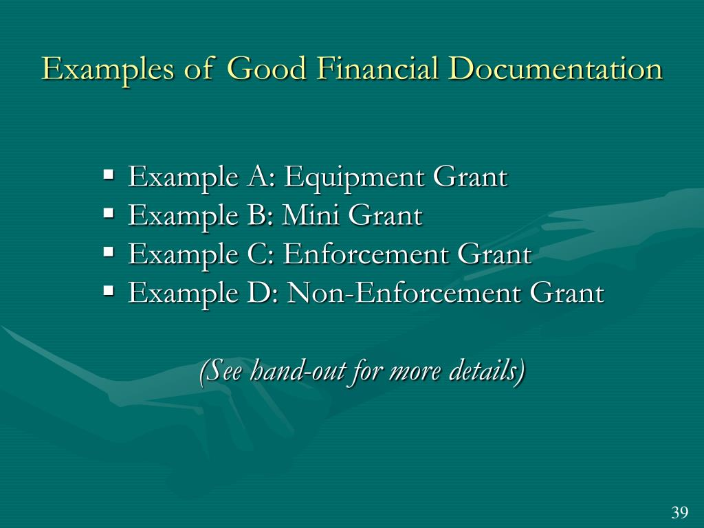 Examples of Good Financial Documentation