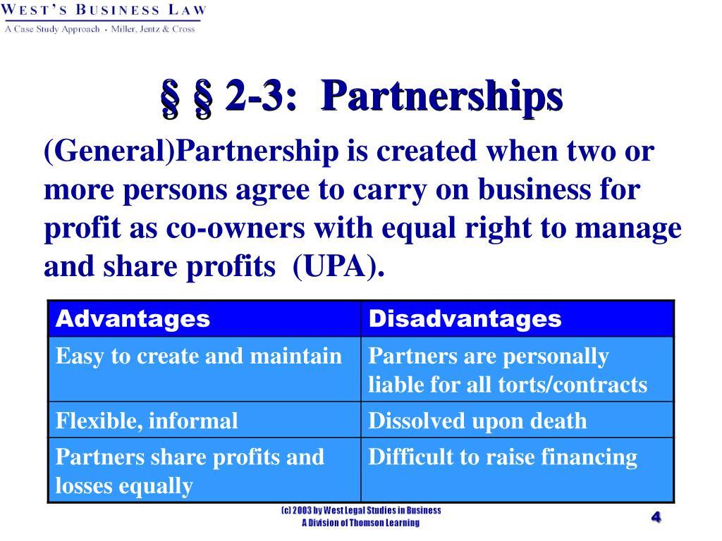 § § 2-3:  Partnerships