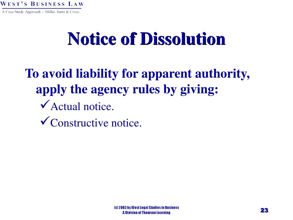 Notice of Dissolution