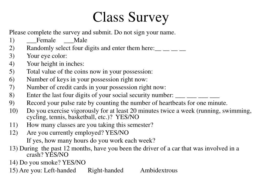 Class Survey