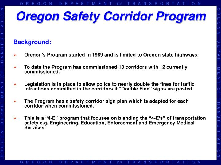 Oregon safety corridor program
