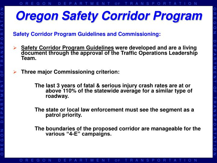 Safety Corridor Program Guidelines and Commissioning: