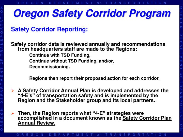Safety Corridor Reporting: