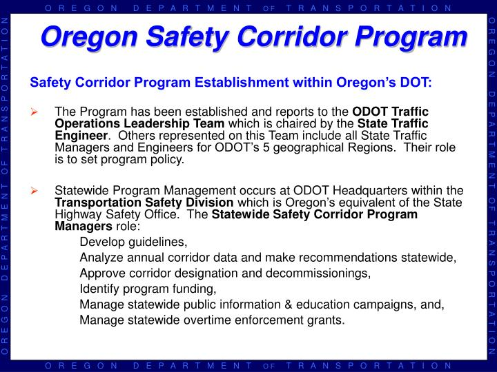 Safety Corridor Program Establishment within Oregon's DOT: