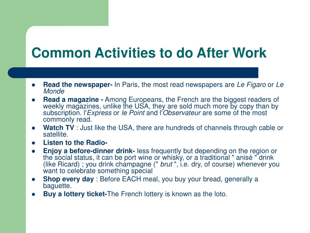 Common Activities to do After Work