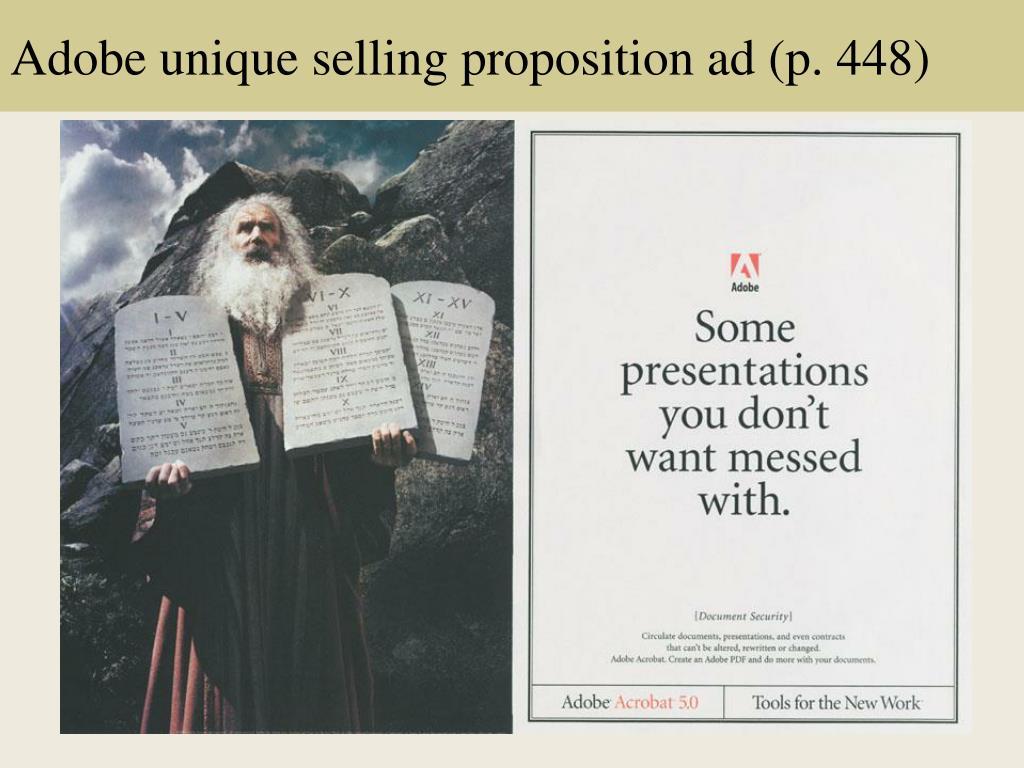 Adobe unique selling proposition ad (p. 448)